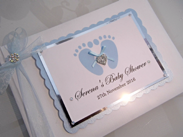Personalised Baby Shower Guest Book - Blue Footprints
